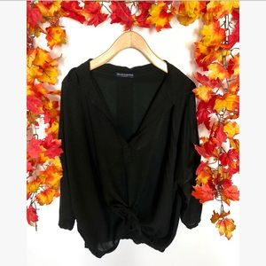 Brandy Melville black Vneck tie top